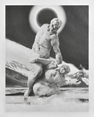 Hercule et Cacus I, 2020 Dessin à la mine de graphite Faber-Castell, papier Canson 224 g/m2 162 x 126 cm Courtesy de la Galerie Suzanne Tarasieve, Paris et de l'artiste Jean Bedez © Photo. Rebecca Fanuele