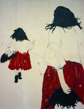 Juliette Lemontey. L'échappée belle. Huile et fusain sur toile. 200 x 170 cm. © Galerie GNG
