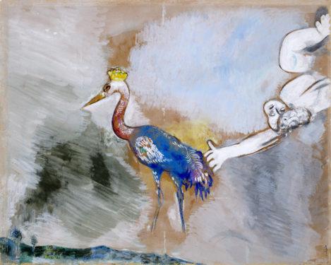 Marc Chagall, Les grenouilles qui demandent un roi (gouache préparatoire pour les Fables de La Fontaine), Livre troisième, fable IV, vers 1927Gouache sur papier, Collection particulière, © ADAGP, Paris, 2021