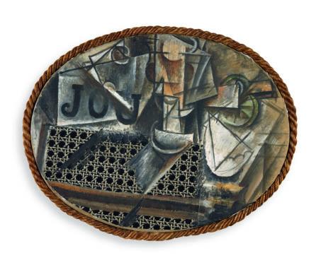 Pablo Picasso, Nature morte à la chaise cannée, Paris, printemps 1912Huile et toile cirée sur toile encadrée de corde, 29 x 37 cmMusée national Picasso © RMN-Grand Palais (Musée national Picasso-Paris) / M.Rabeau © Succession Picasso 2018