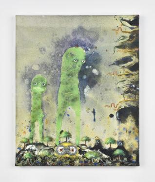 De jour et de nuit, 2019, 46 x 38 cm, peinture phosphorescente, émail à froid, décalcomanies, inclusion oeil de verre, huile sur toile © Rebecca Fanuele