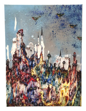 Devant le château, 2019, 61 x 46cm, émail à froid, gesso, spray aérosol, huile, paillette, yeux de verre, décalcomanie