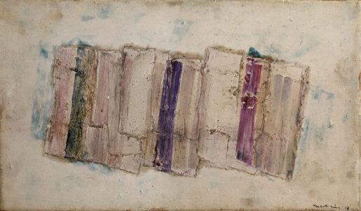 Variations chromatiques. 1958. Huile et technique mixte sur papier marouflé sur toile. Signée et datée en bas à droite. 27 x 46 cm © Applicat-Prazan