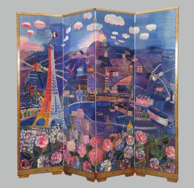 Raoul Dufy et André Groult (1884 –1966) Panorama de Paris, 1933 Bois de hêtre, tapisserie de Beauvais, dim. 227 cm x 264 cm Paris, mobilier national et manufactures des Gobelins, de Beauvais et de la Savonnerie © Adagp, Paris 2021