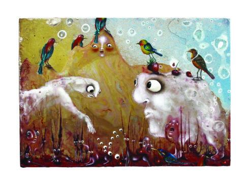 Semer des yeux, 2020, 20 x 28cm, émail à froid, huile, colle epoxy, bombe aérosol © Romain Houg
