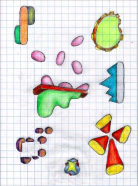 Nicolas Guiet, Études pour Champs magnétiques, fév. 2021, croquis pour l'exposition, crayon de couleur sur papier, 21 cm x 29,7 cm © DR / N. Guiet, Courtesy Galerie Jean Fournier.